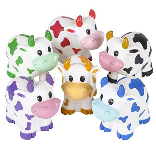Rhode Island Novelty Colorful 2-Inches Rubber Cows |