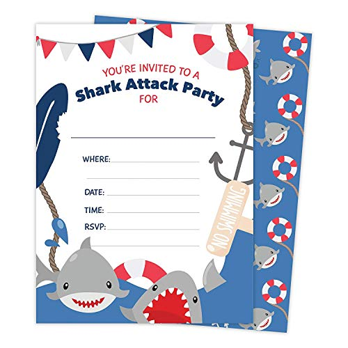 Shark 25 Invitations &Amp; 25 Thank You Cards Combo Pack Happy Birthday Invite Cards With Envelopes &Amp; Seal Stickers Boys Girls Kids Party