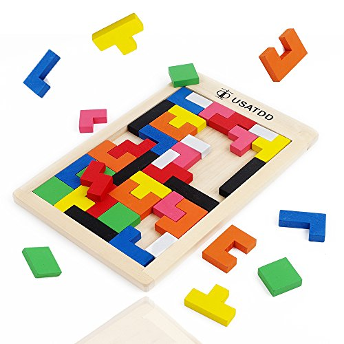 Usatdd Wooden Tetris Puzzle Tangram Jigsaw Brain Teasers Toy Building Blocks Game Colorful Wood Puzzles Box Intelligence Educational Gift For Kids 40 Pcs