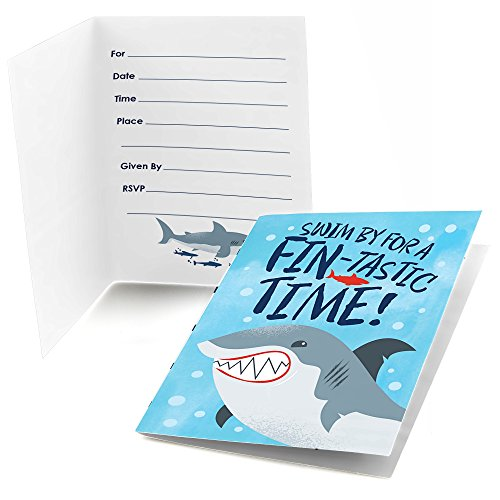 Big Dot Of Happiness Shark Zone - Fill In Jawsome Shark Party Or Birthday Party Invitations (8 Count)