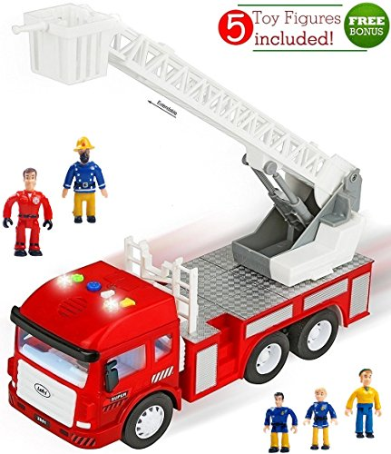 Funerica Toy Fire Truck With Lights And Sounds - 4 Sirens - Extending Ladder - Powerful Friction Rolling - For Kids &Amp; Toddlers