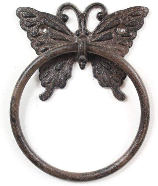 Handcrafted Model Ships Cast Iron Decorative Butterfly Towel Holder 6