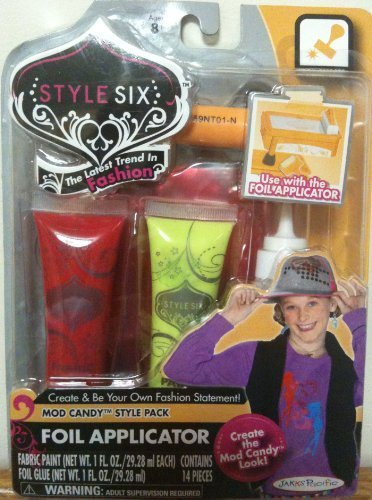 Style Six Foil Effects Fabric Paint, Mod Candy Style Pack, 14 Pcs.
