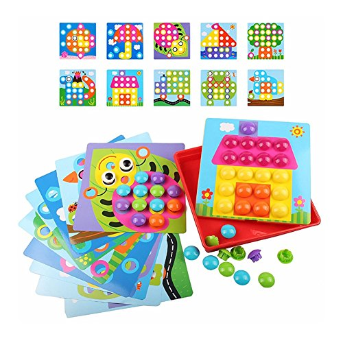 Yugee Button Art Color Matching Mosaic Pegboard Set Toddler Toys Color &Amp; Geometry Shape Cognition Skill Learning Educational Toys For Boys Girls