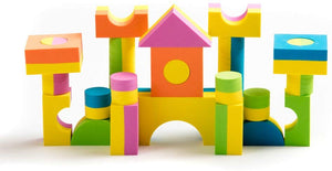 Teeny Toyz, Soft Foam Building Blocks ~100 Pieces ~Non Toxic, Creative, Educational, Water-Proof, With Zippered Carry Bag (Bright)