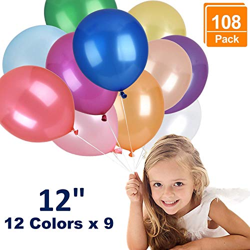 Browill (12 Colors, 108 Pack) Balloons, 12 Inches Assorted Color Thickened Helium Quality Latex Balloons Bulk For Birthday Wedding Party Home Decoration