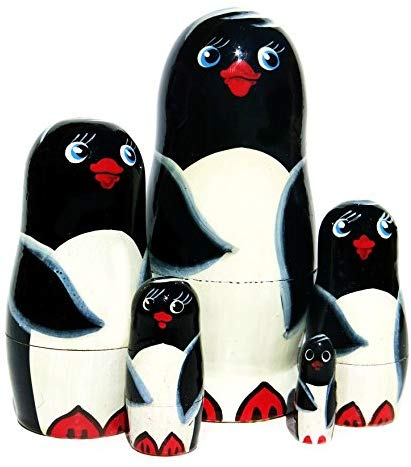 Penguins 5-Piece Black Russian Nesting Doll Russian Stacking Animal Toy Matryoshka