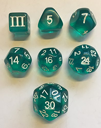 Translucent Teal - 7 Unusual Dice Set Approved For Use With Dungeon Crawl Classics