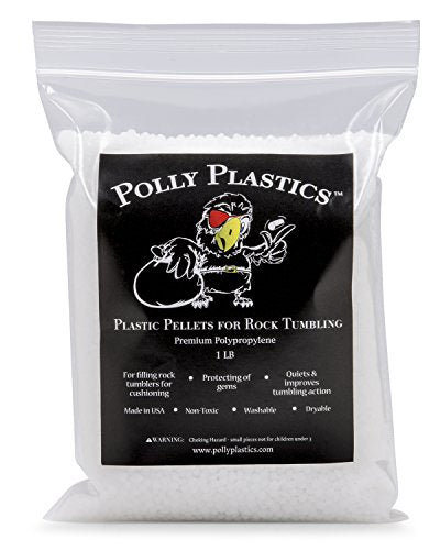 Polly Plastics Polypropylene Plastic Poly Pellets Rock Tumbling Media. 1 Lb Rock Tumbler Filler Beads In Heavy Duty Resealable Bag.