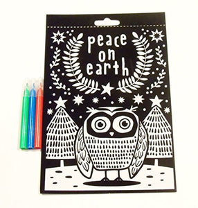 Creatology Velvet Poster With 3 Mini Markers ~ Christmas Edition (Peace On Earth, Owl; 6 X 9)