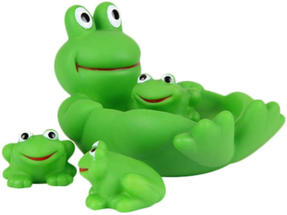 Beautymei Floating Bath Tub Toy, Mummy & Baby Rubber Race Squeaky Family Bath Toy Kid Game Toys (Frog)