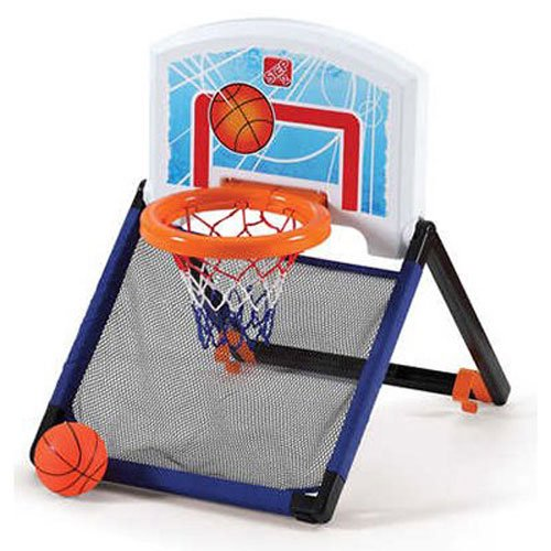 Step2 Floor To Door Toddler Basketball Hoop - Kids Durable Indoor Net Goal Ball Court Toy, Multicolor