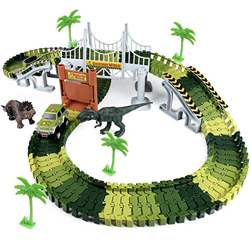 Zjtl Dinosaur World Race Track,142 Pieces Easy To Assemble Dinosaur World Car And Track, Create A Road Across The Dinosaur World