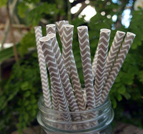 Paperlanternstore.Com Gray Chevron Patterned Party Paper Straws