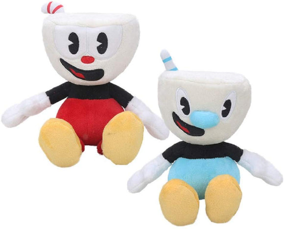 Playfun Cuphead Mugman Plush Game Boss The Devil Plushies Legendary Chalice (2Pcs Mugman & Cuphead)