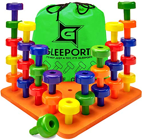 Gleeporte Stacking Peg Board Set Toy - Montessori Occupational Therapy Early Learning For Fine Motor Skills, Ideal For Toddlers And Preschooler, Includes 30 Plastic Pegs &Amp; 1 Board
