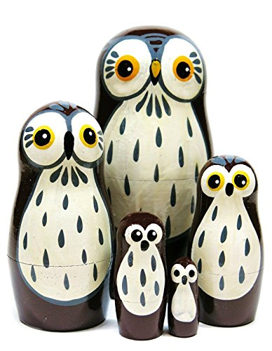Barn Owls 5-Piece Russian Nesting Doll Brown Bird Handmade Wooden Babushka Outdoor Theme Animal Matryoshka Toy - New And Improved 2018 Design