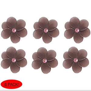 "Flower Decor 2"" Brown Pink Mini X-Small Nylon Mesh Flowers Daisy 6 Piece Decorations Set Decorate Baby Nursery Bedroom Girls Room Wall Wedding Birthday Party Shower Crafts Scrapbook Invitations Diy"