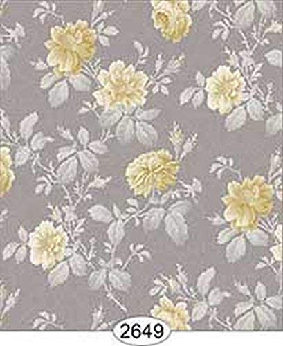 Dollhouse Miniature 1:12 Scale Wallpaper Rose Hill Floral Yellow On Grey Beige