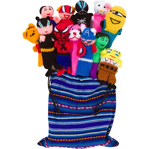 Deluxe Set Of 10 Artisan Made Peruvian Finger Puppets With Free Handmade Drawstring Bag - Super Hero Themed Characters - Great For Children, Teachers, Shows, Playtime, Schools
