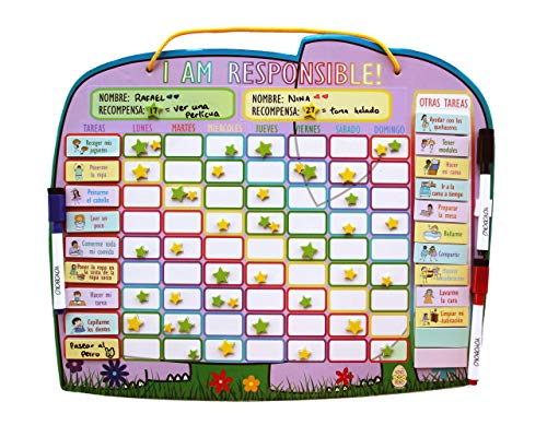 Yoyoboko Original Ele-Fun Star Chart (Spanish) | Magnetic Chore Chart For Kids, Behavior Chart For Multiple Kids + 3 Markers + Storage Bag | 16.3 X 13.4 Inches