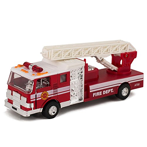 Master Toy Children'S Collectible Die-Cast Metal Pull-Back Action &Amp; Sound Fire Engine Truck With Ladder, Red