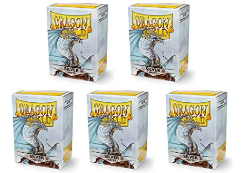 5 Packs Dragon Shield Matte Silver Standard Size 100 Ct Card Sleeves Value Bundle!