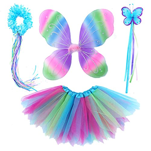 4 Pc Girls Fairy Wings Butterfly Costume Set With Wings, Tutu, Wand &Amp; Halo (Colorful)