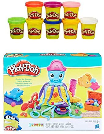 Pd Play-Doh Cranky The Octopus + Play-Doh Rainbow Starter Pack Bundle