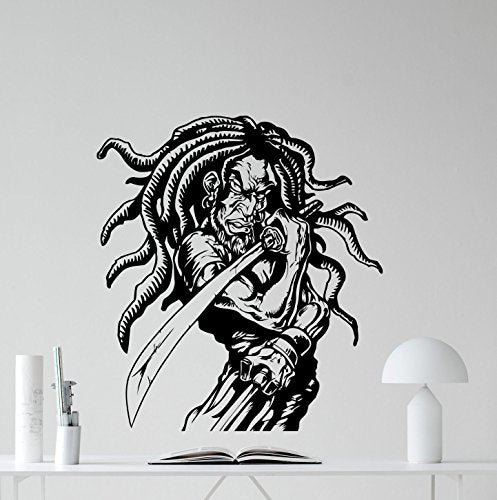 Rasta Samurai Wall Decal Rastaman Sword Ninja Warrior Cartoons Vinyl Sticker Nursery Wall Decor Kids Baby Room Wall Art Wall Custom Children Mural 57Crt