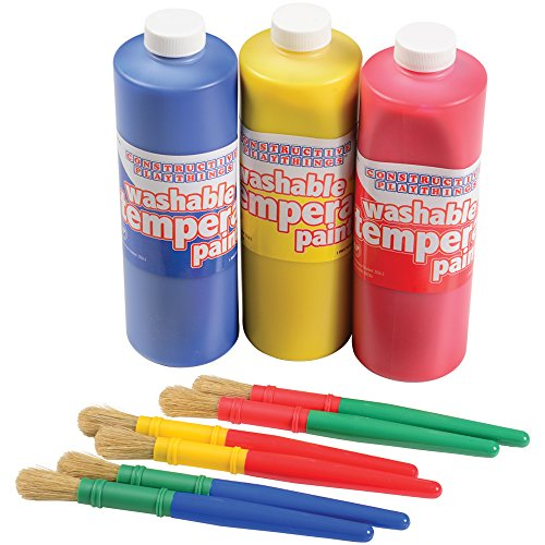 Cp Toys 6 Pc. Chubby Brushes With Three 16 Oz. Washable Poster Paints In Primary Colors