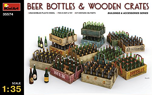 Plastic Model Building Diorama Beer Bottles And Wooden Rates 1/35 Miniart 35574