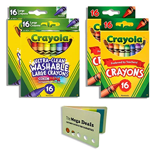 Crayola Large Washable Crayons - 2 Packs | Crayola Classic Color Crayons - 2 Packs | Includes 5 Color Flag Set
