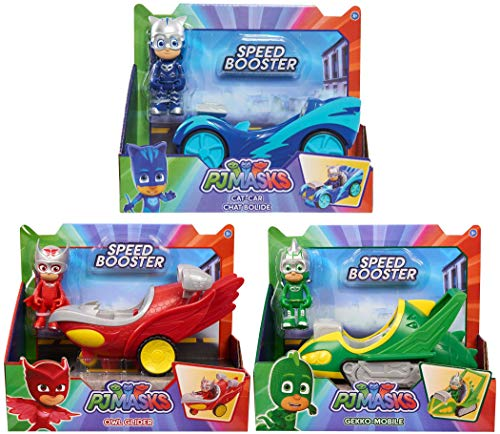 Pj Masks 3 Speed Booster Vehicle Bundle. Includes Catboy Cat-Car, Owlette Owl Glider And Gekko Gekko-Mobile