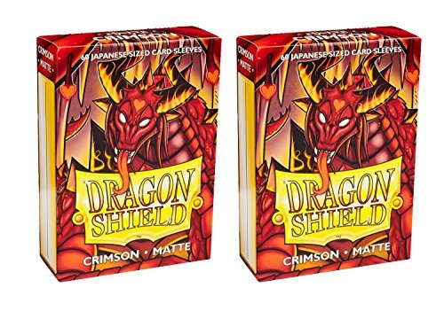 Dragon Shield Bundle: 2 Packs Of 60 Count Japanese Size Mini Matte Card Sleeves - Matte Crimson