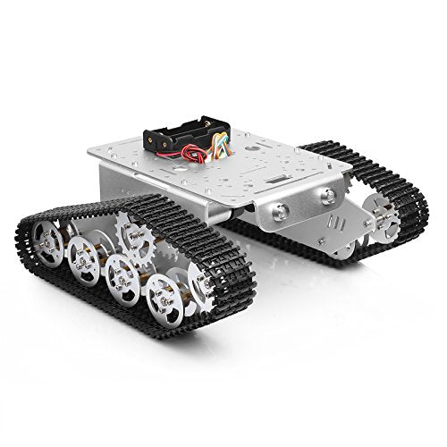 Mountain_Ark Smart Car Platform Tracked Robot Metal Aluminium Alloy Tank Chassis With Powerful Dual Dc 9V Motor For Arduino Raspberry Pi Diy Stem Education, Easy Assembly (11.0X9.8X4.5Inch, 3Lb)