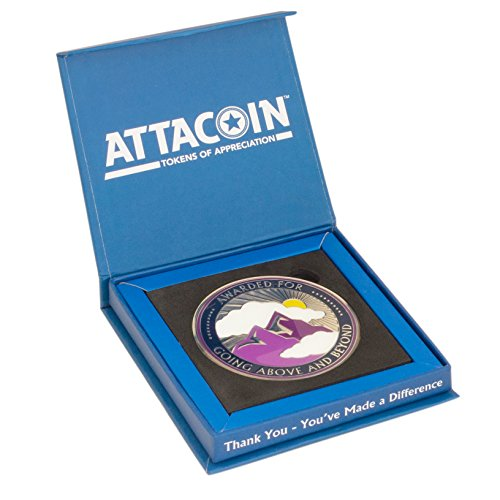 Attacoin Awards - 3 Inch Metal - Going Above And Beyond + Display Box - Employee Appreciation Gift
