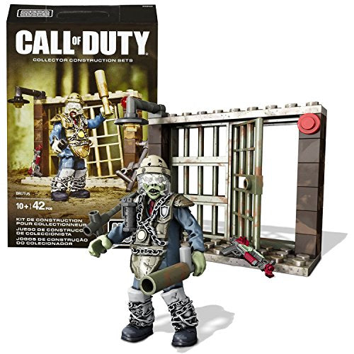 Mega Bloks Year 2015 Call Of Duty Series Micro Figure Cnn66 - Brutus The Zombie With Armor, Ray Gun, Club, Grenade & Prison Cell (Total Pieces: 42)