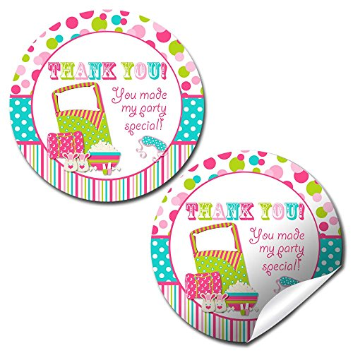 Sleepover Birthday Party Thank You Sticker Labels, 40 2  Party Circle Stickers By Amandacreation, Great For Party Favors, Envelope Seals &Amp; Goodie Bags