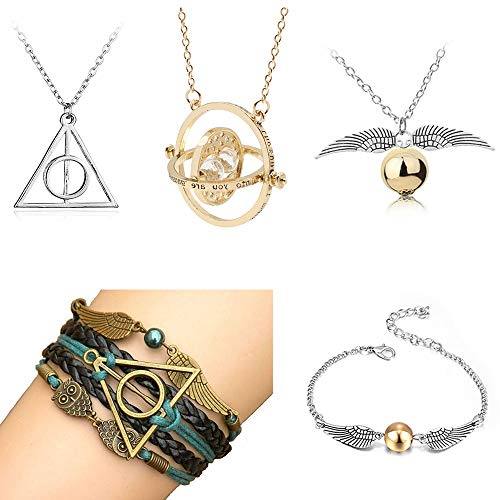 Opendgo 5 Pcs Harry Potter Necklace Set Time Turner Deathly Hallows Golden Snitch Necklace Bracelet For Harry Potter Fans Hogwarts Gifts Or Collection Magical Cosplay Costume Jewelry Gift