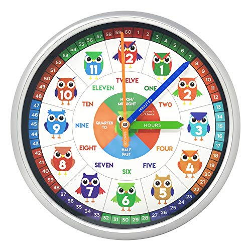 Educational Wall Clock - Silent Movement Time Teaching Clock For Teacher'S Classrooms And Kid'S Bedrooms (Owl Boys)