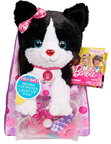 Barbie Vet Bag Set -Black Brown White Kitty With Pink Backpack