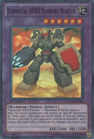 Yu-Gi-Oh! - Elemental Hero Rampart Blaster (Lcgx-En047) - Legendary Collection 2 - 1St Edition - Super Rare
