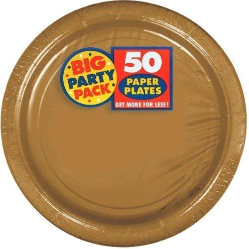 Set Of 3 Amscan Big Party Pack Gold Paper Dinner Plates 50Ct