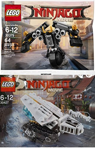 Lego Ninjago Movie Battle Pack 30427, Ice Tank Micro Build + 30379-1: Quake Mech Polybag Edition Vehicle Building Exclusive Set