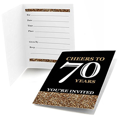 Big Dot Of Happiness Adult 70Th Birthday - Gold - Fill-In Birthday Party Invitations (8 Count)