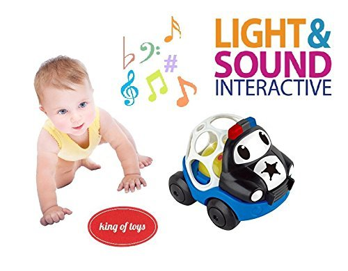 King Of Toys Baby Rattle And Sensory Teether Police Car Cartoon Car Toy For Kids Music And Colorful Lights And Soft Activity