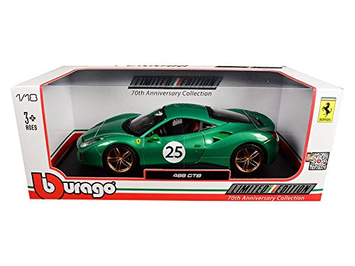 New 1:18 Bburago Limited Edition Collection - Green Ferrari 488 Gtb 70Th Anniversary The Green Jewel Diecast Model Car By Bburago