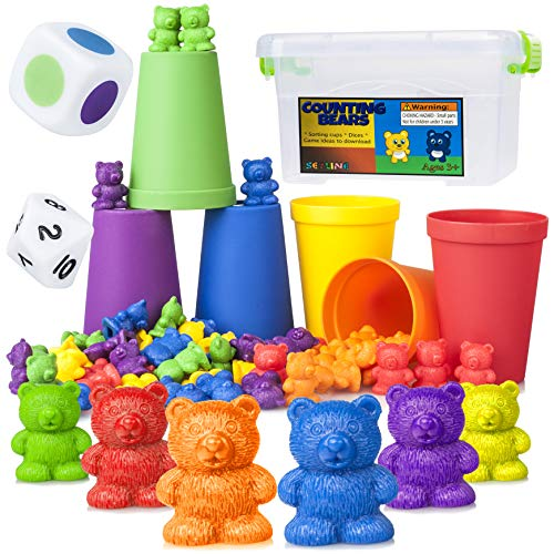 Counting Bears Early Learning Toy - 60 Rainbow Counters, 6 Matching / Sorting / Stacking Cups, Number / Color Dice, Storage, Games - Educational Montessori Math For Toddlers, Kindergarten, Preschool