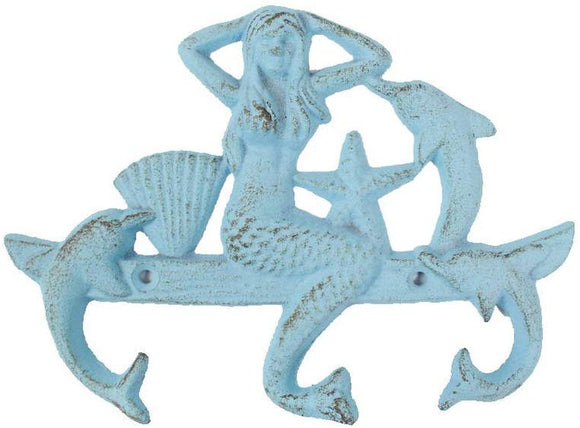 Handcrafted Nautical Decor Rustic Light Blue Cast Iron Wall Mounted Mermaid With Dolphin Hooks 9\